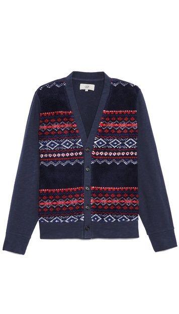 Jack Spade Brodie Fair Isle Sherpa Cardigan. $175.00. #fashion #men #sweaters #cardigan #outerwear