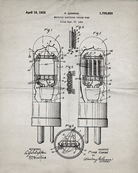 This is a print of a 1929 vacuum tube patent, presented as a vintage industrial or steampunk style drawing. Authentic historical patent prints celebrate industrial design and invention as art, and fit