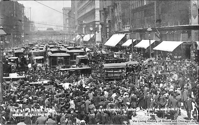 The Digital Research Library of Illinois History Journal™: Cubs Win the 1908 World Series and Chicago Celebrates. Downtown Looking North on State Street at Madison Street.