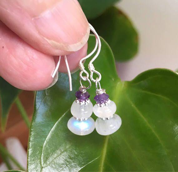 Rainbow Moonstone Earrings Gemstone Jewelry Gemstone earrings