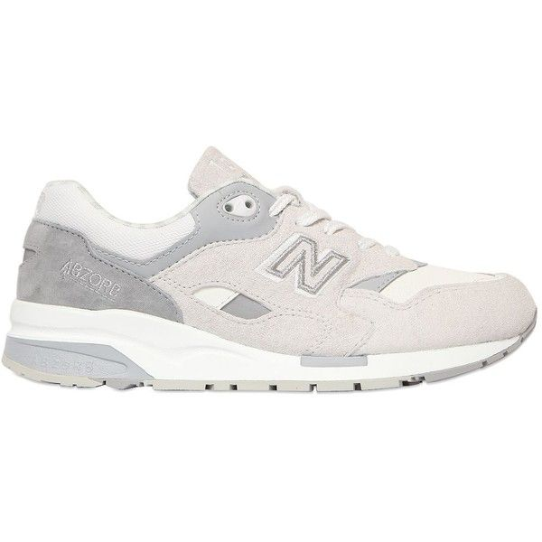 NEW BALANCE 1600 Limit.Ed Suede & Mesh Sneakers ($162) ❤ liked on Polyvore featuring shoes, sneakers, new balance trainers, rubber sole shoes, embroidered shoes, new balance sneakers and suede shoes
