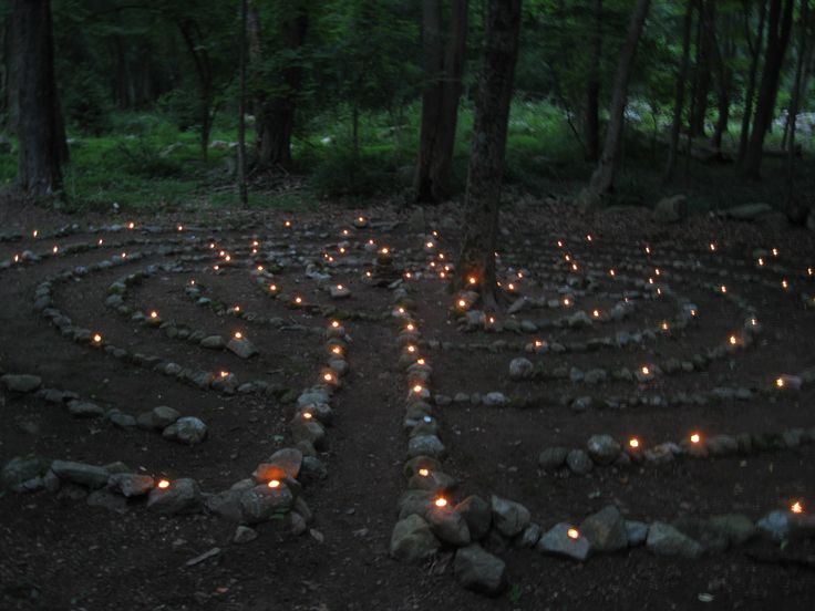 labyrinth with Candles in the night