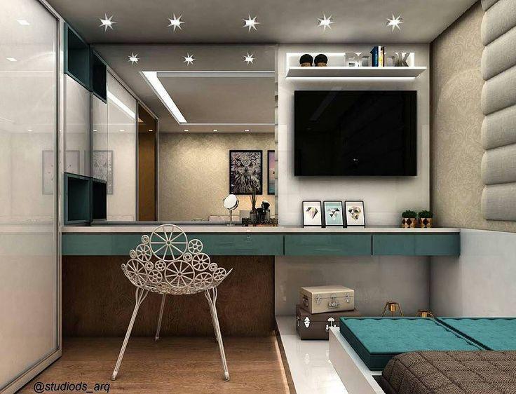 @decoratrends - Bom dia!  Amei a bancada do quarto em azul Tiffany, cheia de personalidade.  Por @studiods_arq