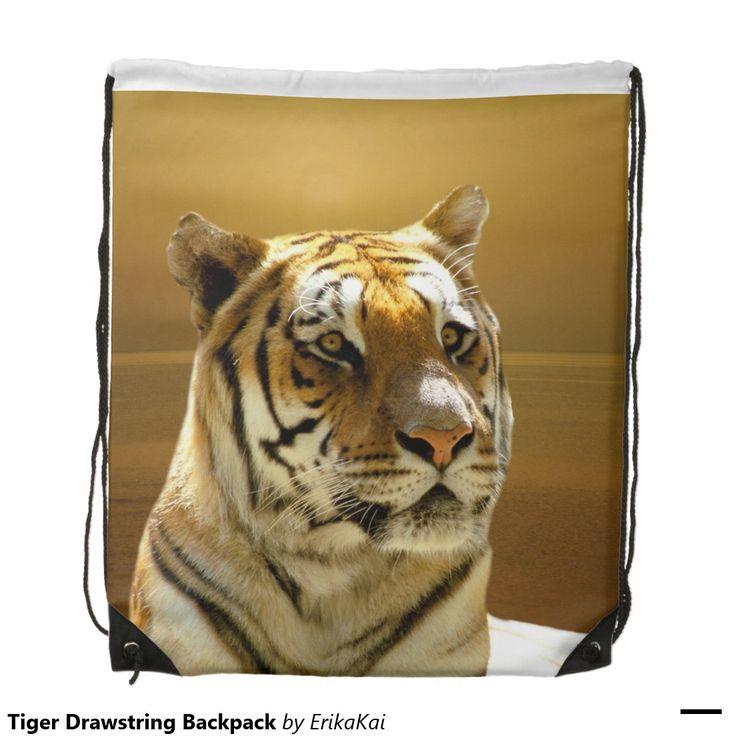 "Golden Tiger Drawstring Backpack. 100% polyester. Dimensions: 14.75"" x 17.3""."