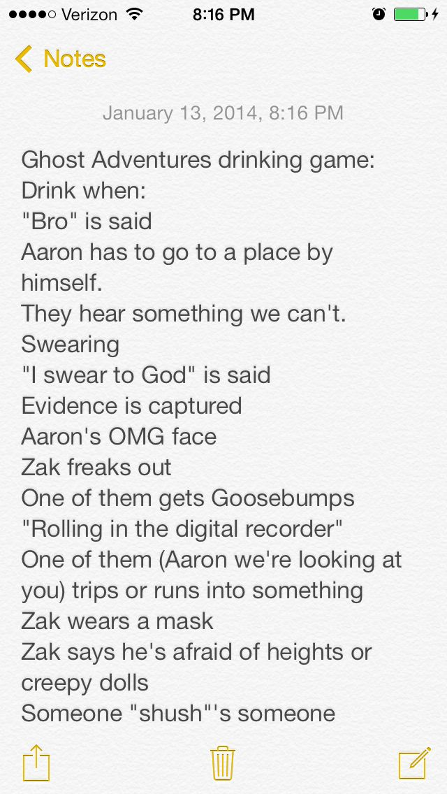 ghost adventures drinking game me and my friend made up haha can't wait to try this out.... #GhostAdventures #drinking #game