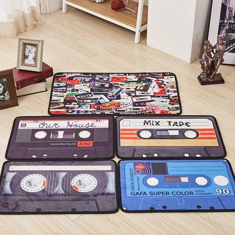 KCASA KC-M6 40x60cm Creative Retro Tape Mat Entrance Door Mats Trap Printed Non-slip Floor Carpet