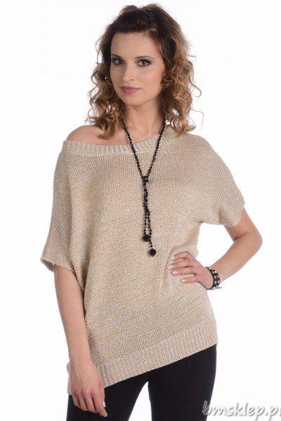 Stylowy, wiosenny sweterek damski. Dekolt łódka. Krótki #rekaw #kimono. Sweterek wykonany z przyjemnej w dotyku dzianiny, przeplatanej brokatową nitką. Tył delikatnie wydłużony, z kuszącym rozcięciem. Po bokach rozporki. Dzianinowe swetry są nie tylko miłe w dotyku i przyjemne w noszeniu, ale również stanowią modną propozycję na chłodniejsze dni. Skład: 50% akryl, 50% #bawelna.... #Swetry - http://bmsklep.pl/mikos-0566-swetry