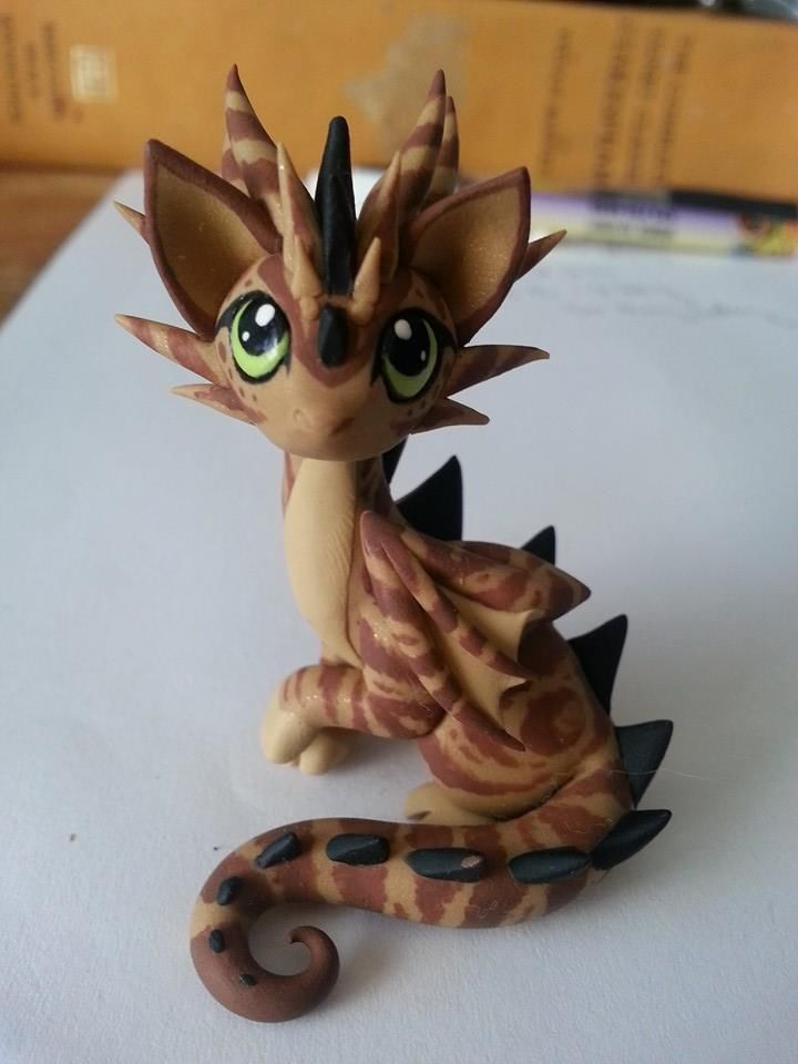 Dragon Cat Sculpture by Dragons And Beasties unique OOAK swirled tabby
