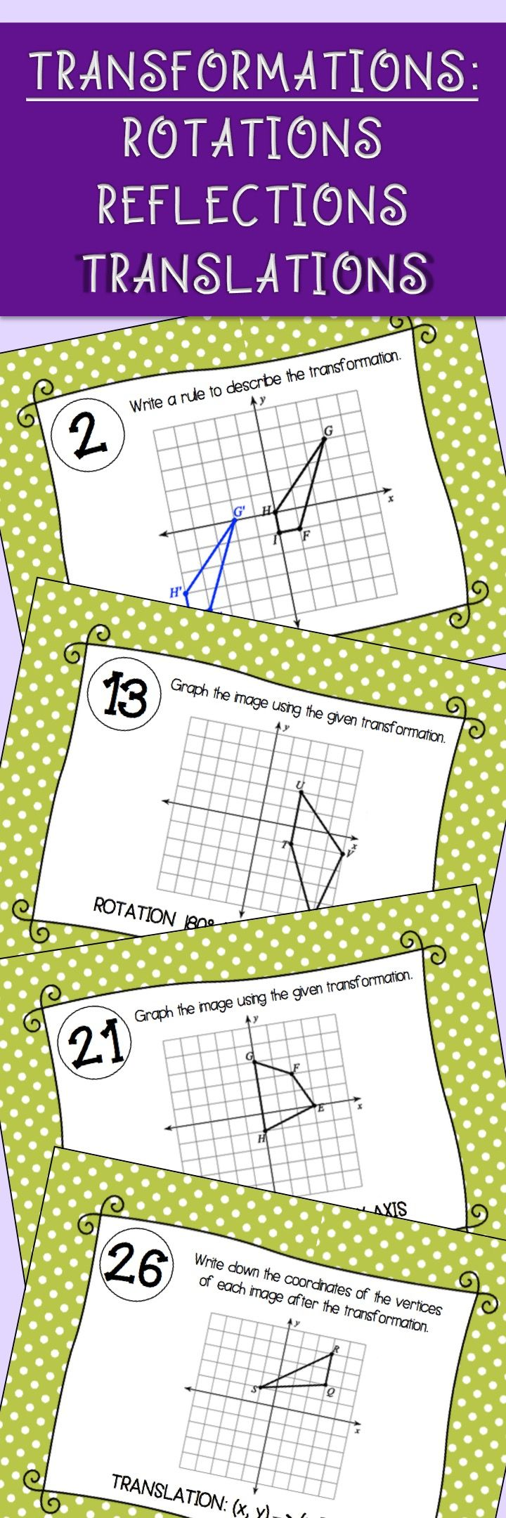 Transformation task cards activity. Reflections, Rotations, and Translations for high school or middle school geometry.