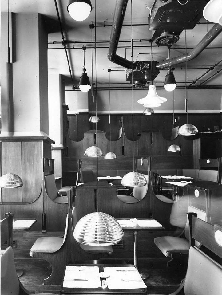 Achille e Pier Giacomo Castiglioni, ristorante-birreria Splügen Bräu. corso Europa, Milano, 1960.