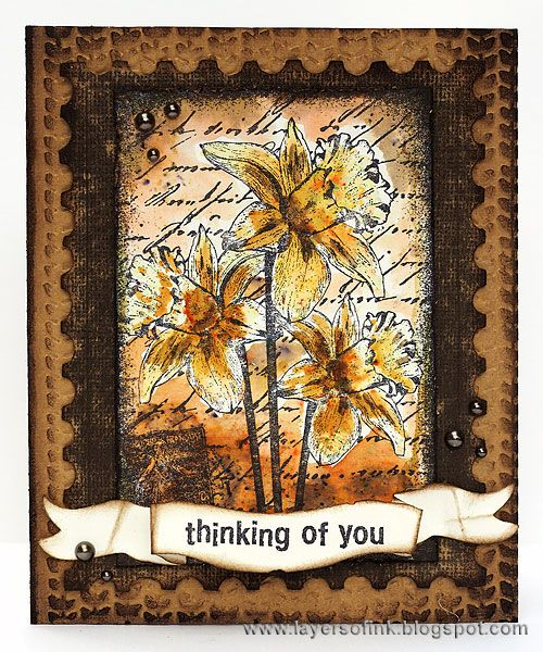 Card by Anna-Karin Evaldsson using Darkroom Door Dear Daffodils Collage Stamp, All Occasions Rubber Stamp Set with Colourcraft Brusho Crystals.