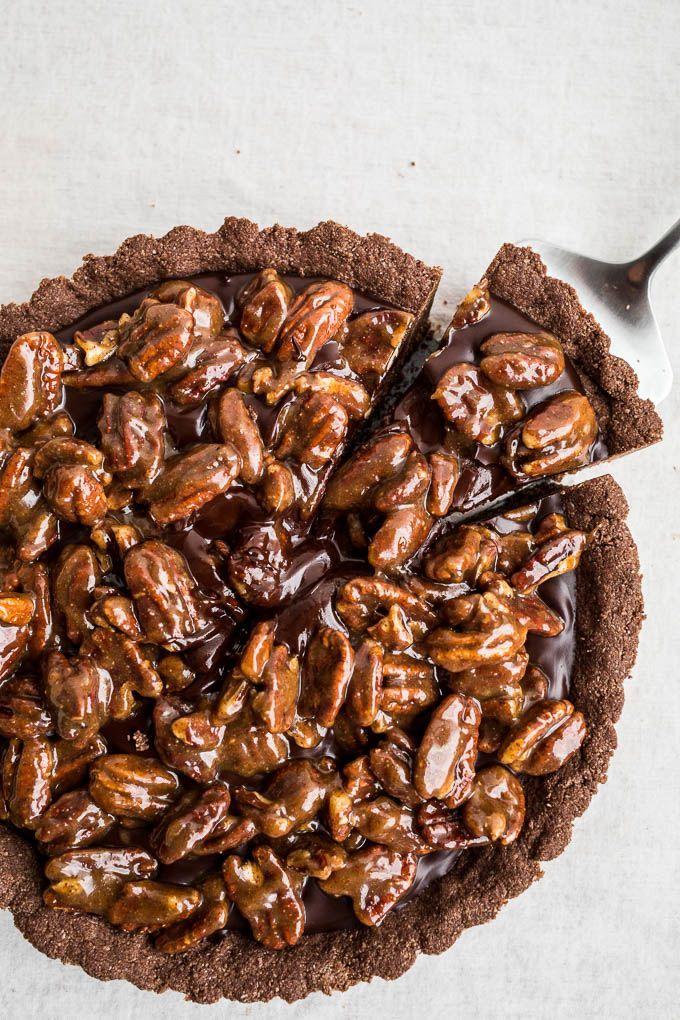 Gluten-Free Chocolate Pecan Tart (gluten-free, vegan)   http://saltedplains.com