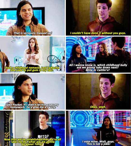 """The Flash - Barry, Caitlin and Cisco #1.6 #Season1<<< """"Now that we've all established that we're uber nerds…"""" I love this line."""