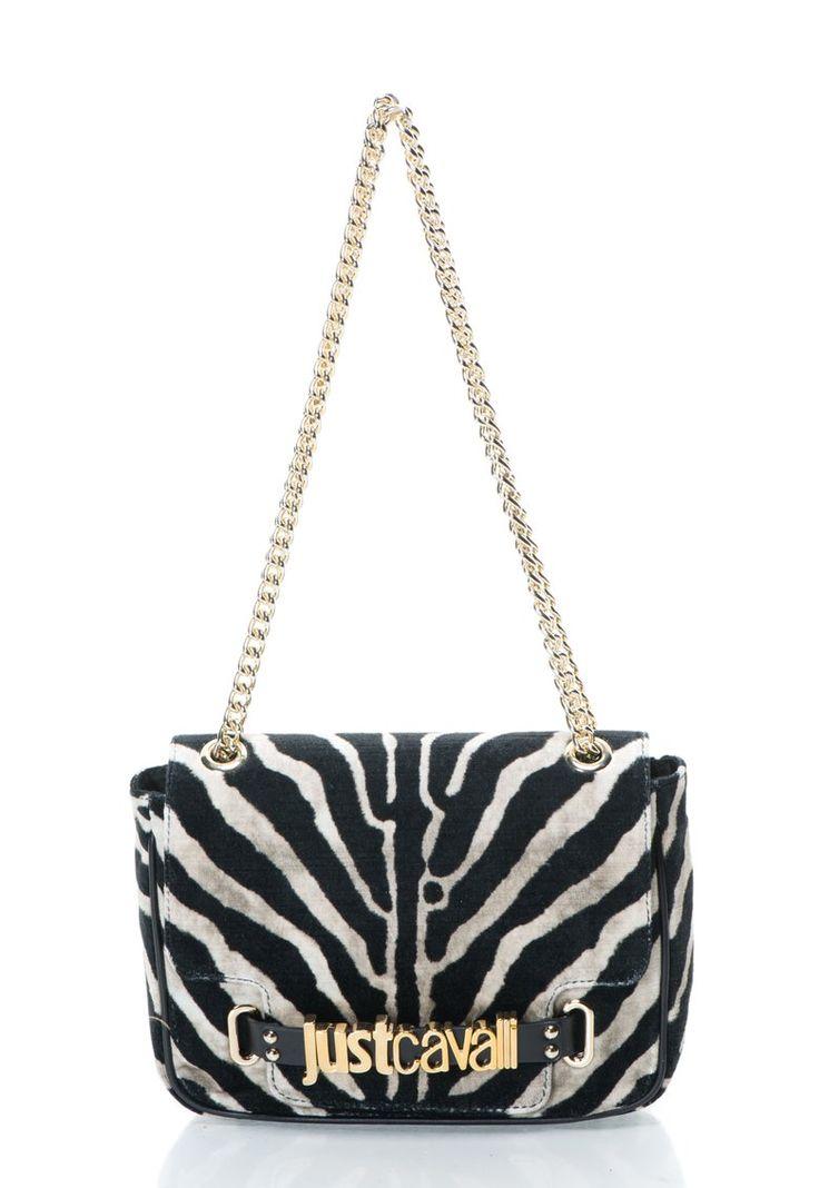 Geanta negru cu alb murdar cu model zebra - Just Cavalli