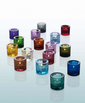Colours like jewels...Kivi candleholders from Ittala.