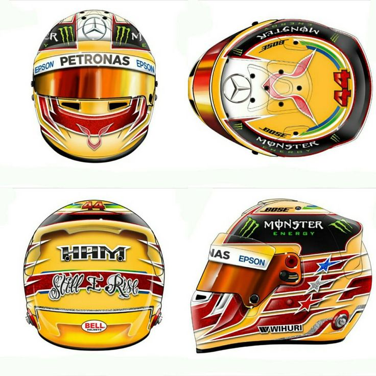 And here is my second contribution to the #lh44design contest. Again, I respected the patterns from Hamilton's 2016 helmet, adding some different elements, shapes and colours. This version, however, has an even stronger connection to the victorious past of Hamilton and his idol Ayrton Senna. #lh44design #teamlh #lewishamilton #design #helmet #helmetdesign #HelmetPainting #BellHelmet #monsterenergy #bose #Epson #mercedes #Racing #CustomHelmetPaint #stillirise #brasil #brazil #England #senna…