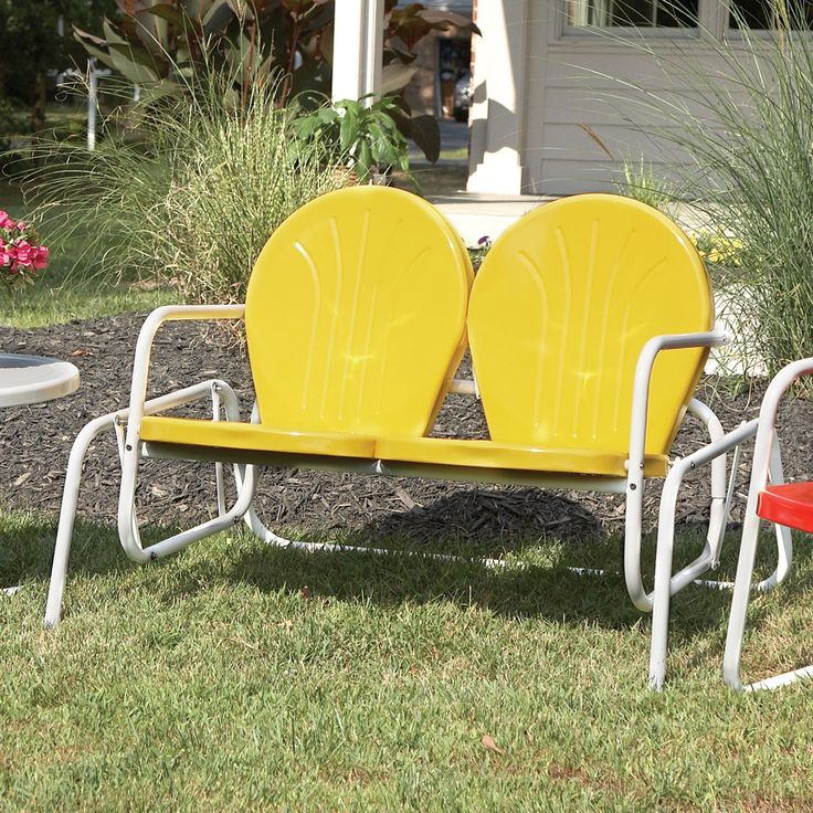 vintage metal chairs outdoor | Retro Metal Glider Lawn Chair - Sporty's Tool Shop
