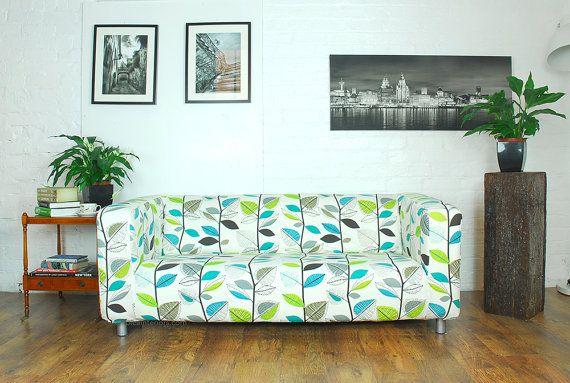 Ikea Klippan Slip cover in Beautiful designer leaf pattern