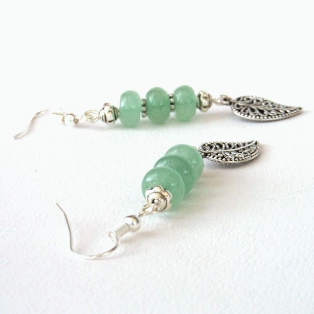 Green aventurine dangly earrings with leaf charm £8.50
