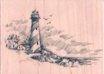 New Sketches Inkadinkado Rubber Stamp Lighthouse Sea XL | eBay