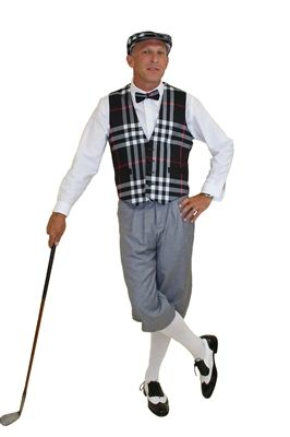 Classic Black Plaid Vest and Cap compliment the Silk Touch Grey Knickers making this an Ultimate Golf Knickers Outfit.