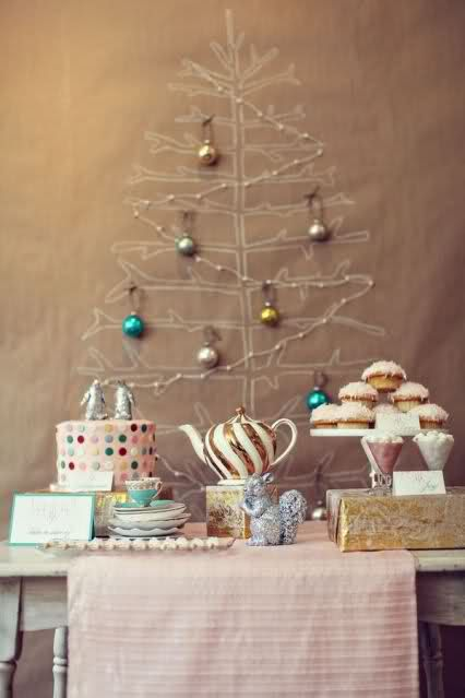 tree on kraft paper... How cool is that?!Christmas Parties, Holiday Parties, Kraft Paper, Backdrops, Christmas Trees Ideas, Kate Spade, Paper Trees, Desserts Tables, Crafts