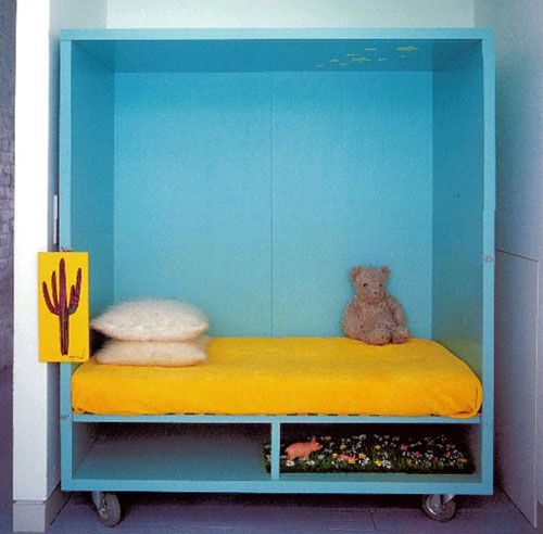 Bed in a box. Turn around to the wall when not in use and the room is not a bedroom anymore. hmmm. Maybe not only for kids.