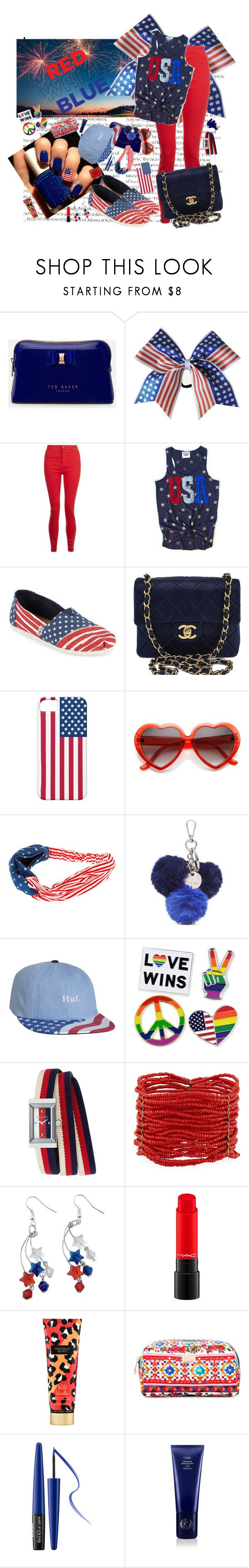"""""""It's a party in the USA! Happy fourth of July!"""" by staystrong-believe ❤ liked on Polyvore featuring Ted Baker, TOMS, Chanel, Nine West, HUF, Gucci, Berry, Victoria's Secret, Dolce&Gabbana and MAKE UP FOR EVER"""