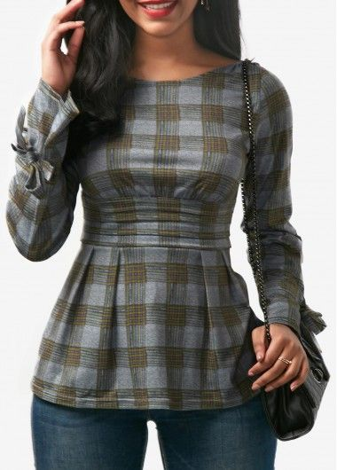 Open Back Tie Sleeve Plaid Print Blouse on sale only US$31.11 now, buy cheap Open Back Tie Sleeve Plaid Print Blouse at liligal.com