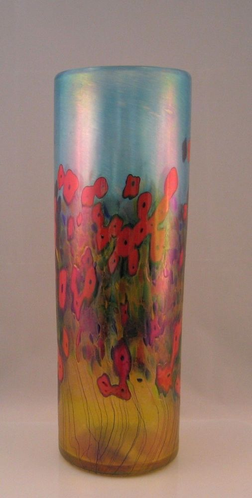 Robert Held Red California Poppy Collection Tall Cylinder Vase Signed Label 2nd #RobertHeld