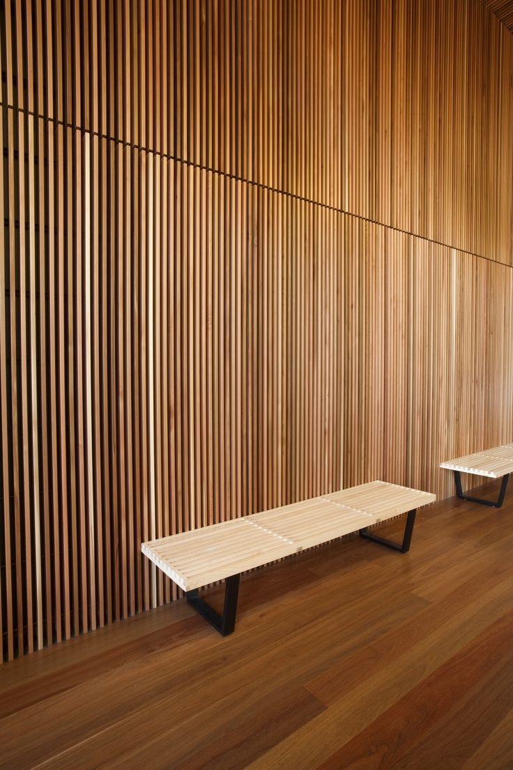 slatted teak feature wall - Wooden Panelling For Interior Walls