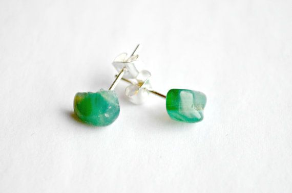 Green Agate Crystal Stud Earrings Silver Surgical by IndigoLizard