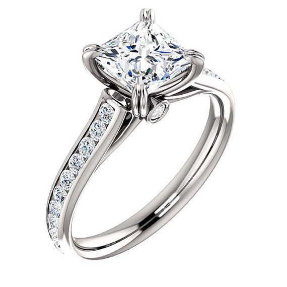 1.69 CTW PRINCESS CUT DUAL CLAW PRONG ACCENTED CATHEDRAL DESIGN ENGAGEMENT RING IN SOLID 14K GOLD