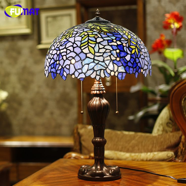 FUMAT Glass Table Lamps European Style Vintage Luxury Wistaria Table Lamp Living Room Hotel Wedding Lamp Decor LED Table Lights #Affiliate