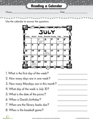 First Grade Time Worksheets: Reading a Calendar