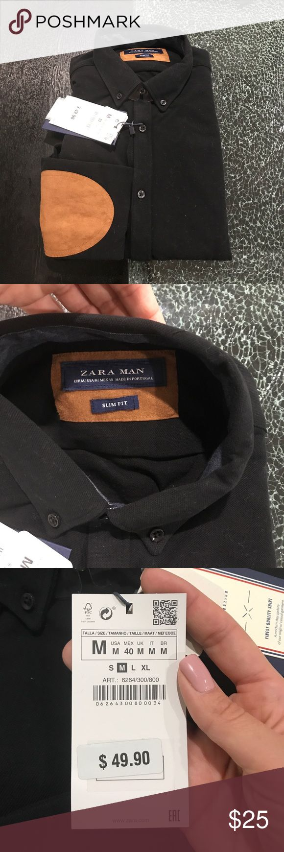 Zara Pique Shirt with Elbow Patch Brand new with tags attached Zara Pique Collection slim fit, classic Pique shirt featuring button detail on the hemline, long sleeves with elbow patches and button up fastening. Ecologically grown cotton. Retail is $49.90 Zara Shirts Casual Button Down Shirts