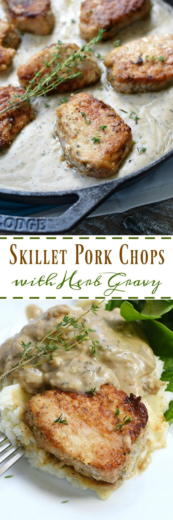 Skillet Pork Chops with Herb Gravy is the perfect 30 minute meal for busy families on the go | cookingwithcurls.com #sponsored #ad @SmithfieldFoods