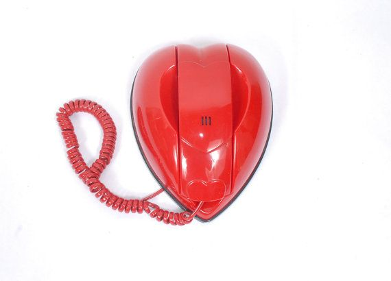 Vintage 80's Red Heart Telephone. By northstarvintage, $45
