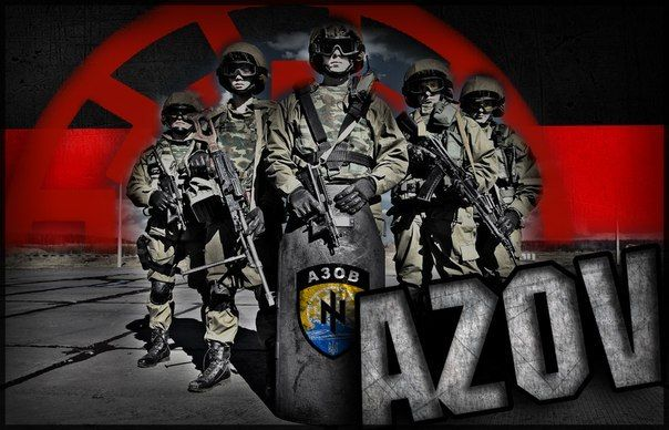 Via Laurent Brayard en fond le #Soleilnoir du bataillon #Azov, symbolique païenne et nazie, #Ukraine