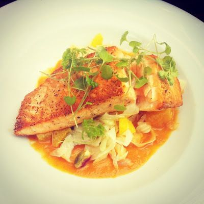 Pacific Organic Salmon + Orange Shaved Fennel Slaw + Raisins + Pistachio + Asparagus + Pernod Tomato Puree