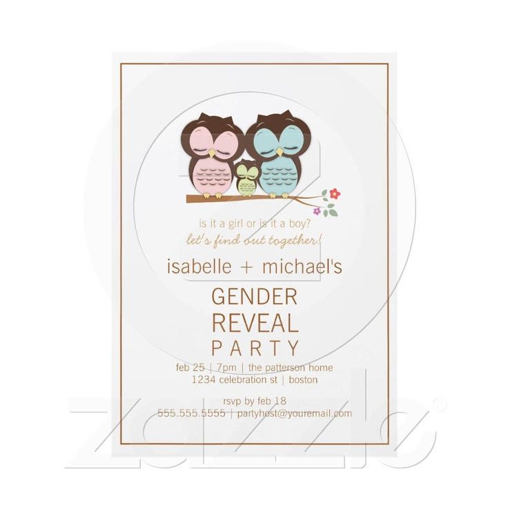 Cute Owl Couple Gender Reveal Party Invitation from Zazzle.com