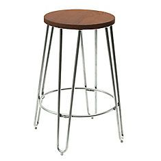 Metal Silver Industrial Backless Armless Bar Stool with Silver Metal Seat