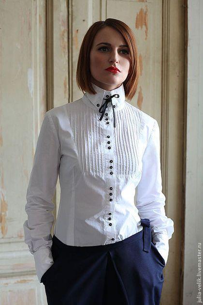 """Блузки ручной работы. Ярмарка Мастеров - ручная работа. Купить Блузка-рубашка """"Локоть Скрипача"""". Handmade. Чёрно-белый"""