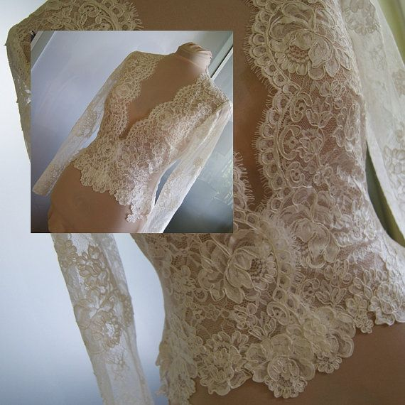 Wedding bolero-jacket with lace long sleeveshort sleeve by TIFARY