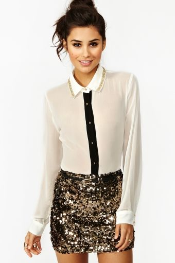 "Sequins, chiffon and collars! // ""Solid Gold Sequin Skirt"" Nasty Gal"