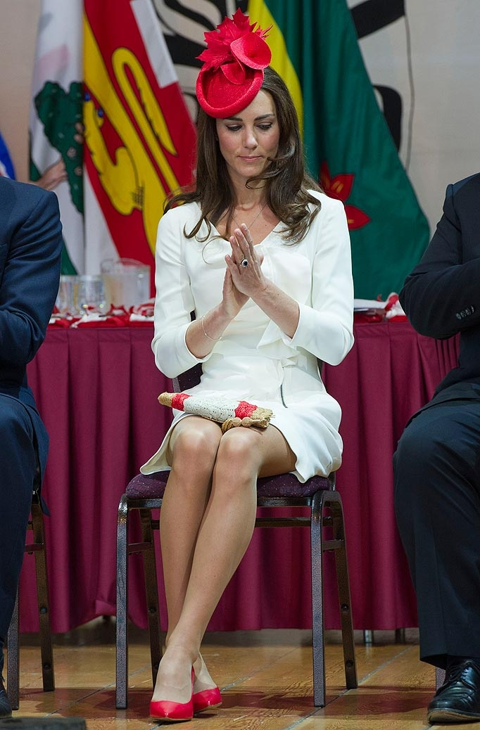 Can't get enough of this woman - the remarkable Kate Middleton.: Duchess Of Cambridge, Prince Williams, British Royalty, Canada Day, Dresses, White Dress, Kate Middleton, Royals Families, Princesses Kate