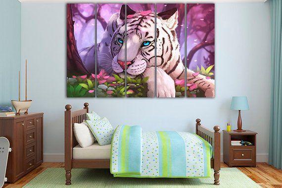 White Tiger Canvas Tiger Print Tiger Wall Art Nursery Decor Big