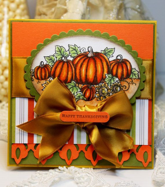 Handmade Card Thanksgiving - Greeting Card - Happy Thanksgiving - Stamped