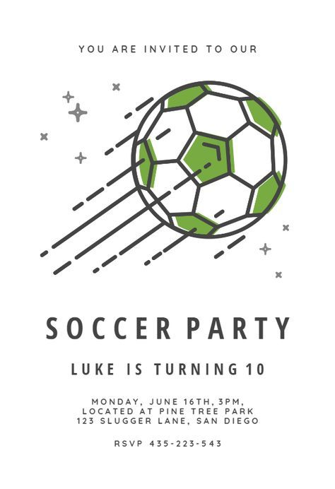 Soccer stars invitation template Customize, add text and photos
