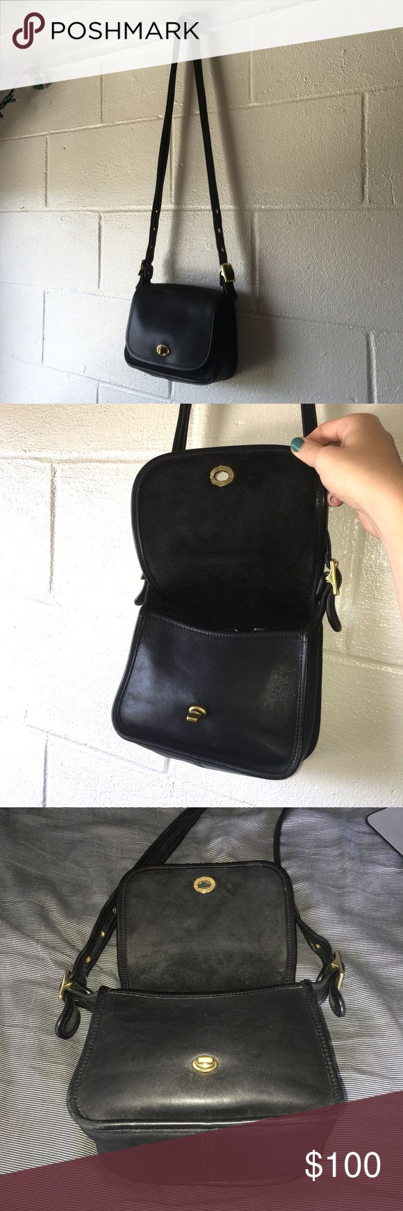 Vintage Coach Legacy Trail Saddle Bag 9965 Excellent condition. #9965. Black leather with gold hardware Coach Bags